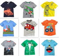 Retail Brand 2014 New Children's T-shirt Kids Baby boys Clothing Childrens Summer Clothes Cartoon T shirts Dinosaur Shark Car