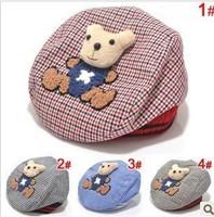 2014 real hat beanies cap towel velvet beret pieces attached to bear children in infant lattice hatformal unisex cotton n.