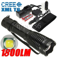 UltraFire 1800 Lumen 12W CREE XM-L T6 LED Mini Flashlight Torch Bike Front Light Zoomable Lamp +18650 Battery + Charger+ Holster