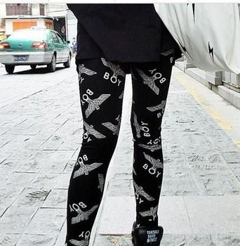 Cheap Wholesale 2014  Fashion women London Boy print pants  winter warm black knit fitness leggings