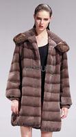 2013 Women Genuine Sheared Rex Rabbit Fur Coat Female Winter Long Warm Mink Fur Hooded Outwear Garment(QD27555A)