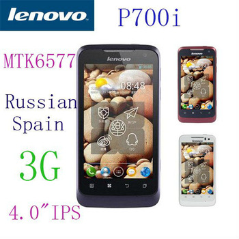 Original brand Lenovo P700i cell phone MTK6577 Dual core GPS 3G wifi android 4.0 2500mAH Long Standby Russian language Luxury UI