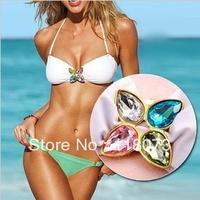 Promotion Cheap Brand Sexy Women's Swimsuit Swimwear Beachwear Bikini Set with Diamond S M L Size SW022 Biquini