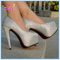 FREE SHIPPING! 9/12/14/16CM prom heels wedding shoes women high heels crystal high heel shoes platforms silver rhinestone pumps