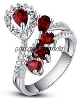 Garnet ring Free shipping Ladies rings Natural garnet rings 925 sterling silver Red gem Fine jewelry 5pcs gems