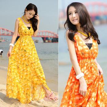 Sexy Women's Lady V-Neck Bohemia Fruit Print Chiffon Summer Beach Hem Tunic Long Dress Size S M Yellow Orange Free Shipping 0842