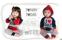 HB153 Free ship baby romper autumn full sleeve Love Dad Mum cute style/kids bodysuits/boy girl jumpsuits Retail Honey Baby