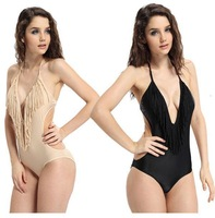 Hot 2013 Barnd Women's Black White  Deep V Tassel Fringe Swimwear Bathing Swimsuit  Beachwear Bikini Set S M L Size