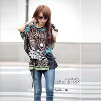 New 2014 Retail Fashion Spring And Summer Bohemia Dress Large Size Leopard Repair Waist Dress Sweatshirt Women's T-shirts 612S01