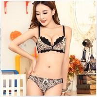 Free shipping women sexy lace push up bra underwear set designer adjustable leopard print bra brief set HB201328