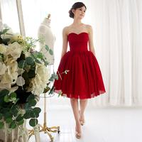 Red chiffon short gown evening dress elegant  2014 new arrival formal dresses vestidos de renda  festa vestido  bandage dress