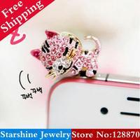 Min Order $5 Mix PL02103 full rhinestone cat mobile phone dust plug little tiger mobile phone headphones