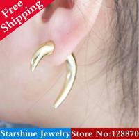 Min Order $5 Mix PL38605 fashion  vintage gold rivet cool punk  earring single