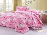 Softness flannel fabric bedding set queen lovely pink hello kitty children bedding set princess comforter set/quilt cover set