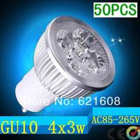 free shipping CREE 50pcs/lot Dimmable GU10 4X3W 12W 4-CREE LEDS Led Lamp Spotlight 85V-265V Led Light downlight High Power