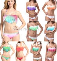 2014 Newest Brand Colorful Sexy Bikini Swimwear Women Padded Boho Fringe Tassel Swimsuit 10 Colors S M L #PA002