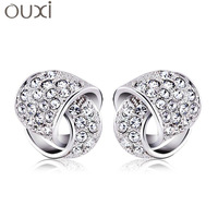 ERA048 2013 Love in Love Circle Stud Earrings Made With Top Austrian Crystal Thick White Gold Plated Free Shipping