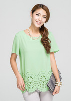 hollow out chiffon plus size  blouse women 2013 summer short sleeve chiffon solid blouse