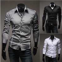 Free shipping 2013 spring and summer men's Sau San short-sleeved shirt solid color