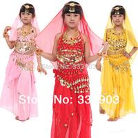 hot sale 4 pcs top skirt belt veil belly dancing costumes for kids Indian dance clothes child costume set performance