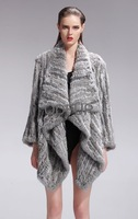 2013 Women Genuine Knitted Rabbit Fur Coat Female Winter Warm Overcoat  Fashion Garment(QD27587A)