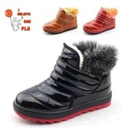 2013 winter boots, patent leather shoes Kids Children's shoes boys girls real hair thick cotton padded shoes