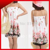 Fashion New Boho Cute Girl's Spaghetti Strap Wraps Chest Slim Mini Floral Chiffon Backless Dresses Casual Summer Sundress QZ207
