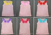Fashion 100% cotton flower top petti flower top Baby Girls cotton summer flower  T shirt Free shipping