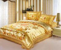 Reactive printing 4pc orange duvet cover dragon pattern king size bedding set winter bed cover