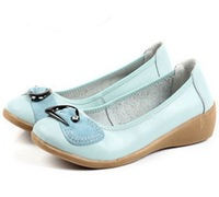 2013 Genuine Leather Fashion Wedges Dance Shoes Casual Comfortable Women's Flats Shoes Wholesale Low Price