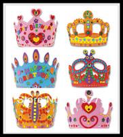12 pcs/lot Kids Self-adhesive Handmade DIY 3D Eva Crown Craft Kits EVA Birthday Crown Children Birthday Hat Craft Toy Children