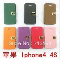 10pcs New Arrival korea style fashion  soft leather Skin Cover for iphone4, flip case Cover for iphone 4s,  free shipping