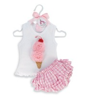 Sweet baby suit: Vest with ice-cream+ pink underpants/ New design