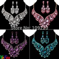 1set/lot Free Shipping Bridesmaid Party Tear Drop Earring Necklace Wedding Crystal Fashion Jewelry Sets Rhinestone WA119