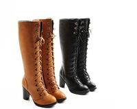 Autumn and winter boots high-leg over-the-knee boots belt Women high thick heel platform martin boots