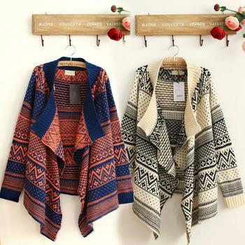 Free shipping new 2015 fashion Winter women clothes Retro Flower jacquard Thick Long Cardigan crochet sweaters Shawl jacket coat