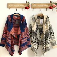 Free shipping new 2014 fashion Winter women clothes Retro Flower jacquard Thick Long Cardigan crochet sweaters Shawl jacket coat