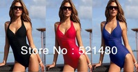 Free Shipping One-piece Strap swimwear triangle coverup skirt SEXY deepV busty beachwear Steelbracket PushUp big breast swimsuit