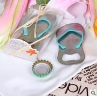 Free shipping Wedding Gift and Favor Flip-Flop Bottle Opener shape of Slipper Gift packaging 20pcs/lot