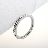 Fashion Silver Plated Stainless Steel  Full Crystal Diamond Ring For women Tail Ring  Free Shipping