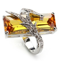 Trendy yellow Crystal fashion 925 Silver RING R560 sz# 6 7 8 9