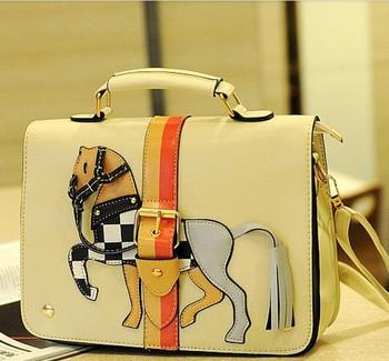 Fashional 4 colors Office purse shoulder bag girls briefcase fashion very practical little Horse candy color handbag