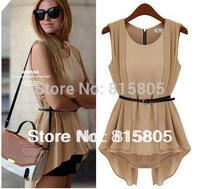 With Belt New 2014 Korean Women Summer Fashion Chiffon Dress False Two Waist Mini Chiffon Shirt Nude+Black Winter Dress
