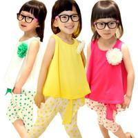 2014 summer girls clothing set sleeveless tops plus dots pants K6713 fresh suit