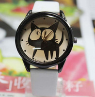 2013 New Fashion Casual Cute Cartoon Kitty PU Leather Watches Waterproof Wristwatches Hours for Children Students Free Shipping