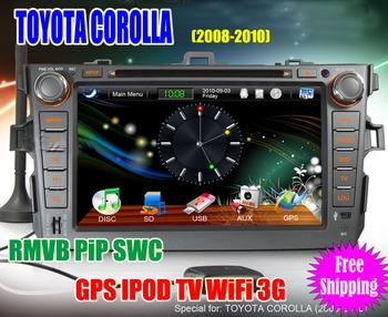 TOYOTA COROLLA 2008-2010 Car DVD Player HD Touch Screen Radio with GPS Navigation IPOD Radio WiFi 3G RMVB freeshipping 1018