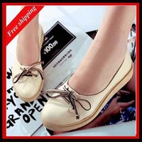 2014 spring and autumn shoes preppy style round toe PU leather platform flat women's shoes