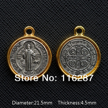 Catholic Religious Gifts antique St Benedict Medal two side big saint Pendant alloy gold plated Diameter 21.5mm Thickness 4.5mm