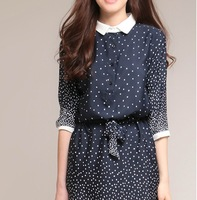 half sleeve silk women dress aesthetic elegant dot polka knee-length dresses