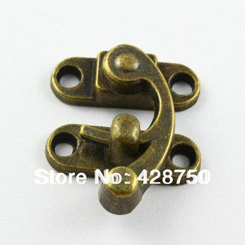 10 Pieces Antique Brass Jewelry Box Hasp Latch Lock 29x33mm with Screws